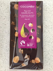 Lindsay & Edmunds Cocopod DARK Fig and Hazelnuts - Organic Fairtrade chocolate