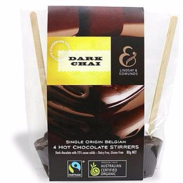 Lindsay & Edmunds Dark Chai Hot Chocolate Stirrers 4-pack - Organic Fairtrade chocolate