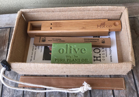 Eco Traveller Gift Pack - Bamboo toothbrush, Travel Toothbrush Holder and Natural Soap