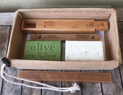 Eco Bathroom Gift Pack - Bamboo toothbrush, Travel Toothbrush Holder and Natural Soaps