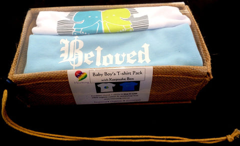Boys Elephants Beloved Blue Organic Cotton T-shirts gift packs (6mth to 4yr) - sweatshop-free