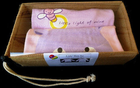 Girls Hippo and Little Light of Mine Bamboo/Organic Cotton Long-sleeve shirt gift packs (9mth to 4yr) - sweatshop-free