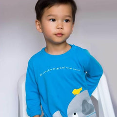 Heartsong Long-Sleeve Shirt Elephant Turquoise Bamboo Organic Cotton