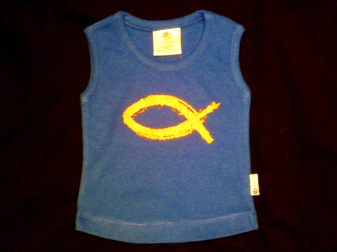 Fish Tank Singlet BLUE - organic cotton and sweatshop-free