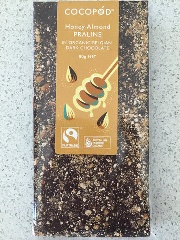 Lindsay & Edmunds Cocopod DARK Honey and Almond Praline - Organic Fairtrade chocolate