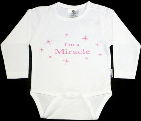 Heartsong Organic Cotton I'm a Miracle Long-sleeve Bodysuit Pink print