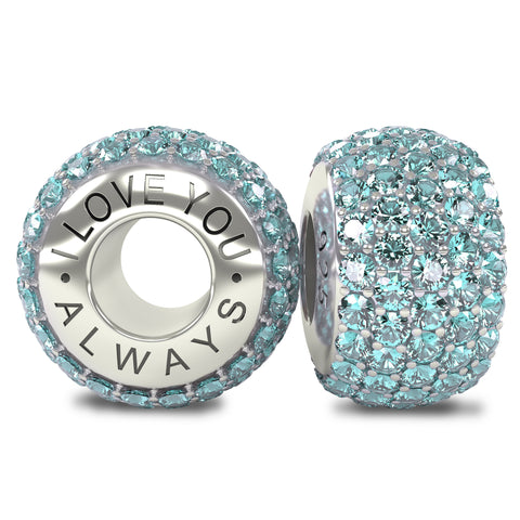 The Royal Collection - I Love You Always - Solid Sterling Silver 925 Aquamarine Blue Austrian Crystals Pave Bead Charm