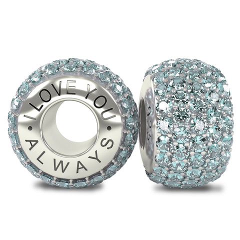 The Royal Collection - I Love You Always - Solid Sterling Silver 925 Aquamarine Austrian Crystals Pave Bead Charm