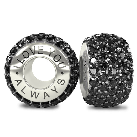 The Royal Collection - I Love You Always - Solid Sterling Silver 925 Black Austrian Crystals Pave Bead Charm