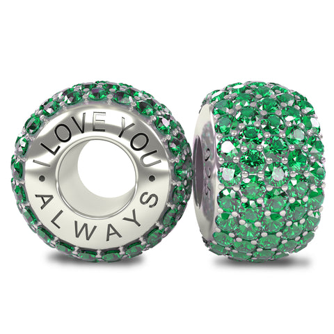 The Royal Collection - I Love You Always - Solid Sterling Silver 925 Emerald Austrian Crystals Pave Bead Charm
