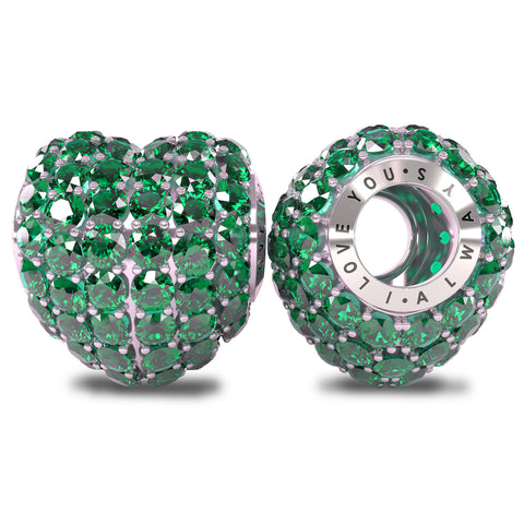 The Royal Collection - I Love You Always - Solid Sterling Silver 925 with Emerald Austrian Crystals Pave Bead Charm