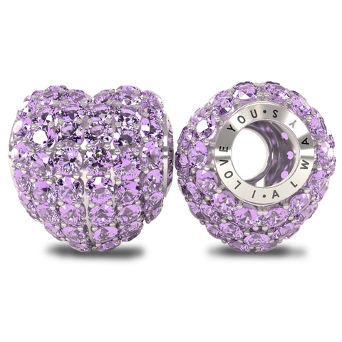 The Royal Collection - I Love You Always - Solid Sterling Silver 925 with Light Purple Austrian Crystals Pave Bead Charm