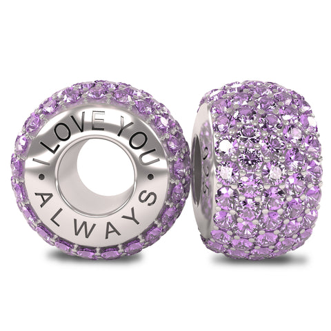 The Royal Collection - I Love You Always - Solid Sterling Silver 925 Light Purple Austrian Crystals Pave Bead Charm