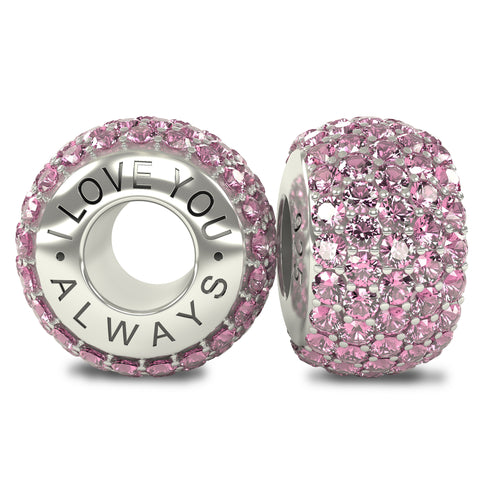 The Royal Collection - I Love You Always - Solid Sterling Silver 925 Pink Austrian Crystals Pave Bead Charm