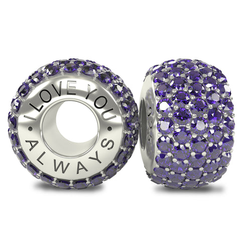 The Royal Collection - I Love You Always - Solid Sterling Silver 925 Purple Austrian Crystals Pave Bead Charm