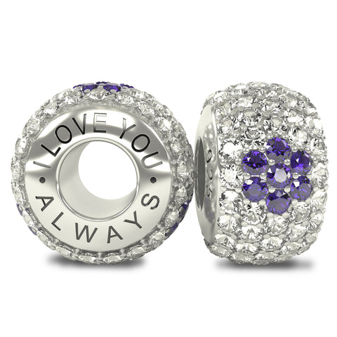The Royal Collection - I Love You Always - Solid Sterling Silver 925 3 Purple Flowers with White Austrian Crystals Pave Bead Charm