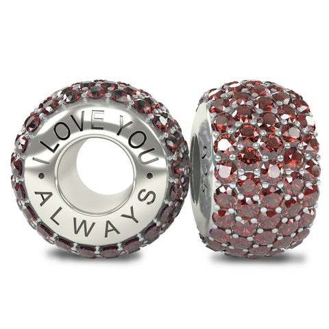 The Royal Collection - I Love You Always - Solid Sterling Silver 925 Red Austrian Crystals Pave Bead Charm