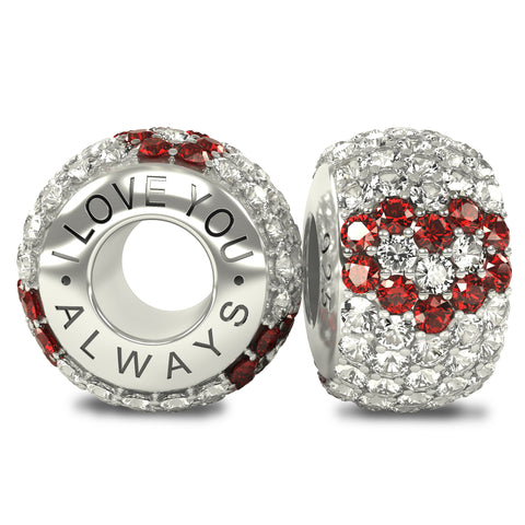 The Royal Collection - I Love You Always - Solid Sterling Silver 925 3 Red Hearts with White Austrian Crystals Pave Bead Charm
