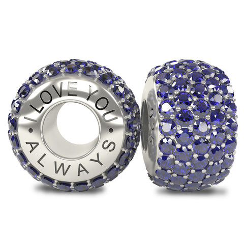 The Royal Collection - I Love You Always - Solid Sterling Silver 925 Sapphire Austrian Crystals Pave Bead Charm