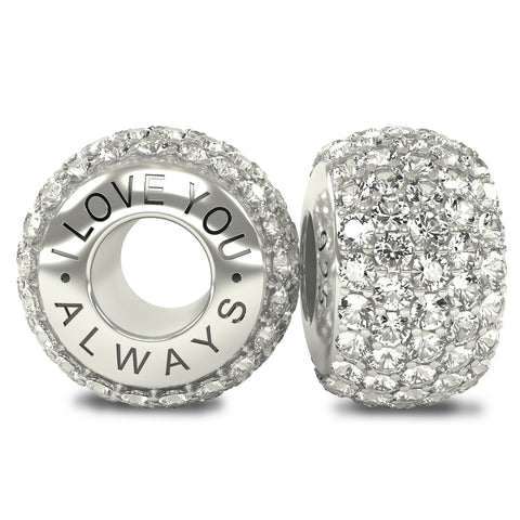 The Royal Collection - I Love You Always - Solid Sterling Silver 925 White Austrian Crystals Pave Bead Charm