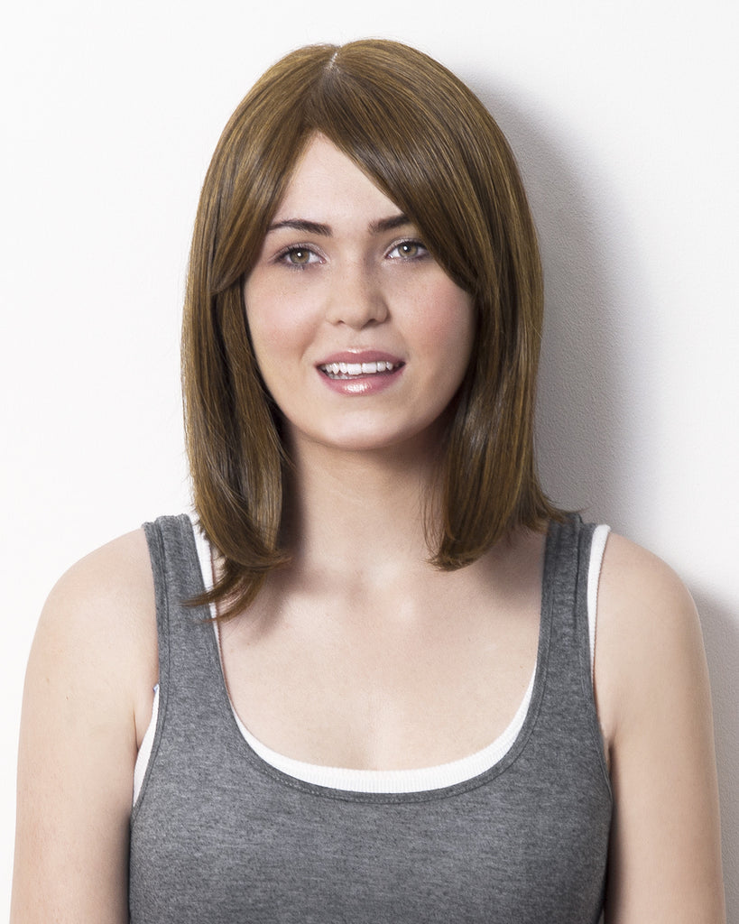 Love TKO - shoulder length wig with asymmetrical cut in toffee chocolate.