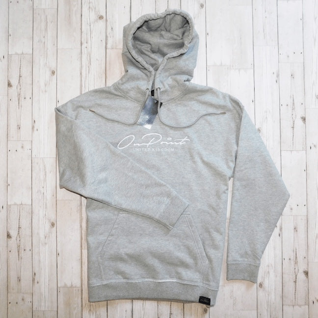 ONPOINT® Signature – Distressed Hem Oversized Hoodie in Grey Marl