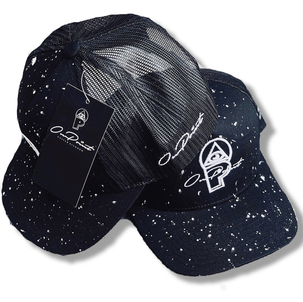 ONPOINT® Paint Splatter - Mesh Trucker Hat - Black & White