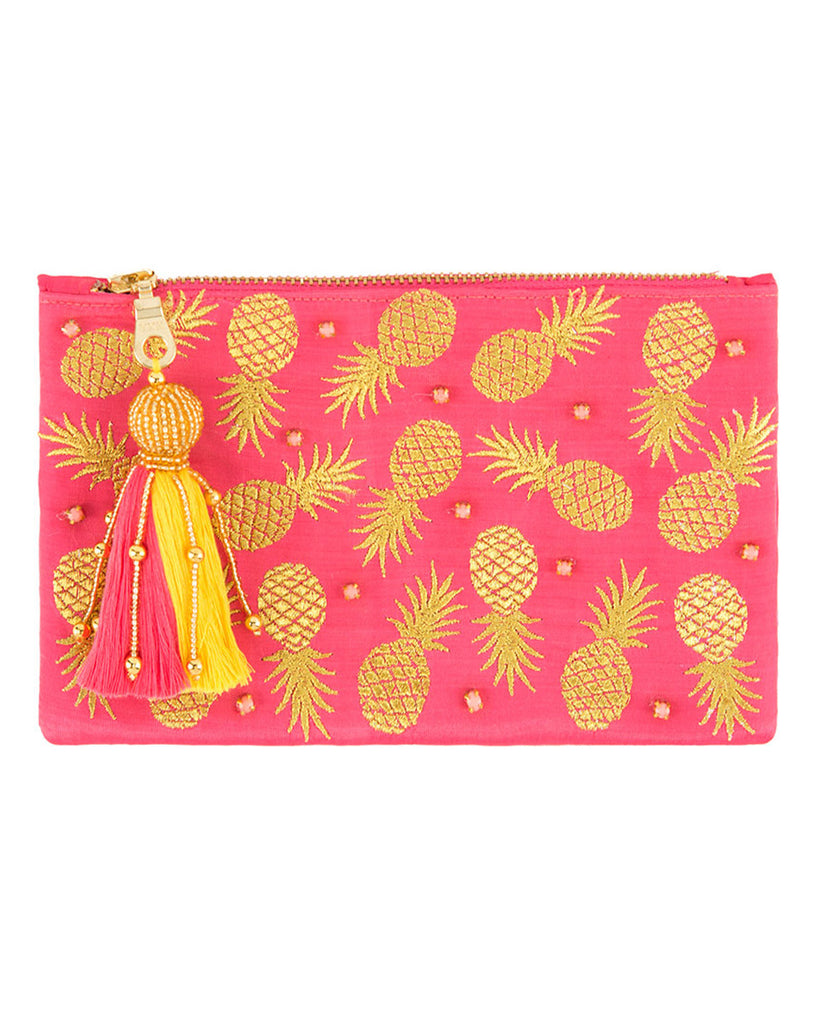 Gold Pineapple Print Tassel Zip Pouch