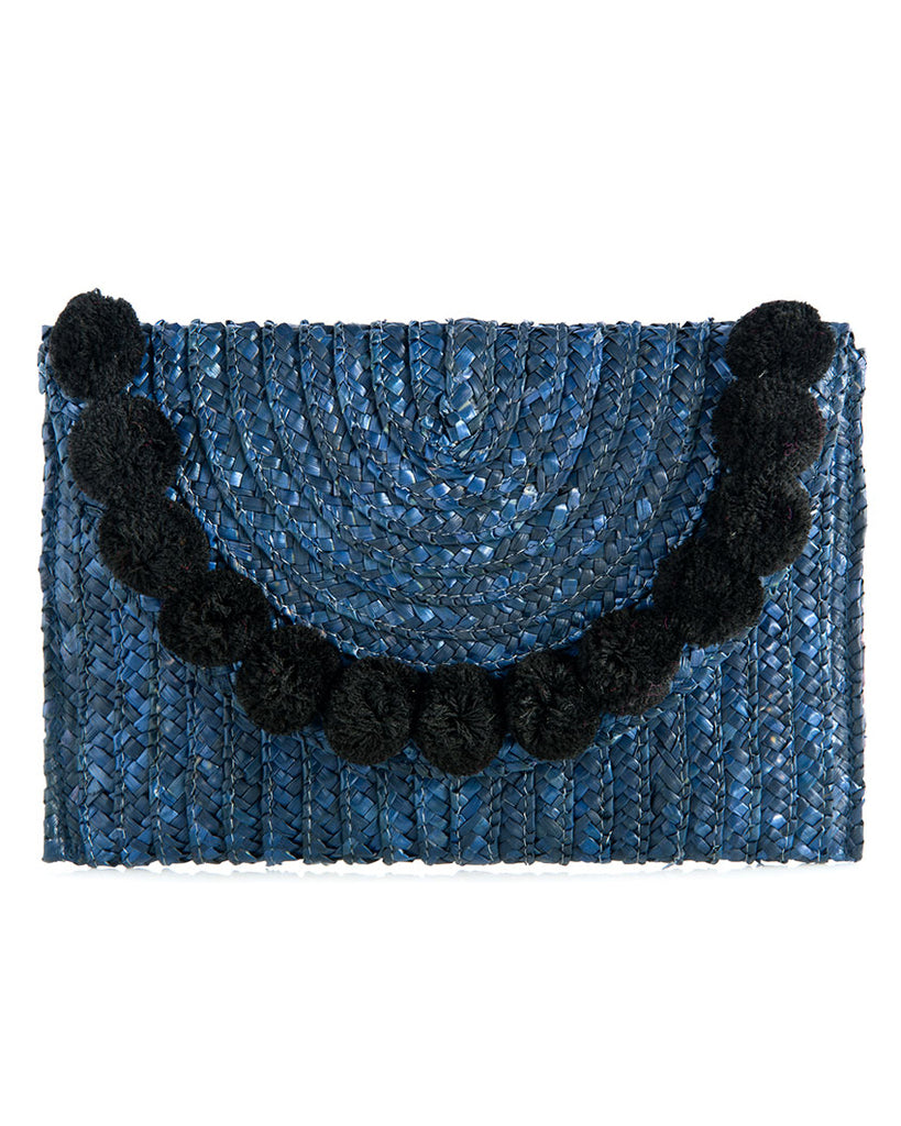 Fortuna Pom Pom Straw Clutch