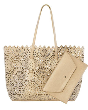 Helena Eyelet Leather Tote & Clutch