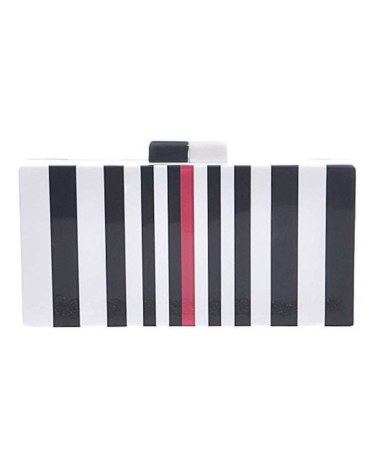 Black and White Striped Box Clutch