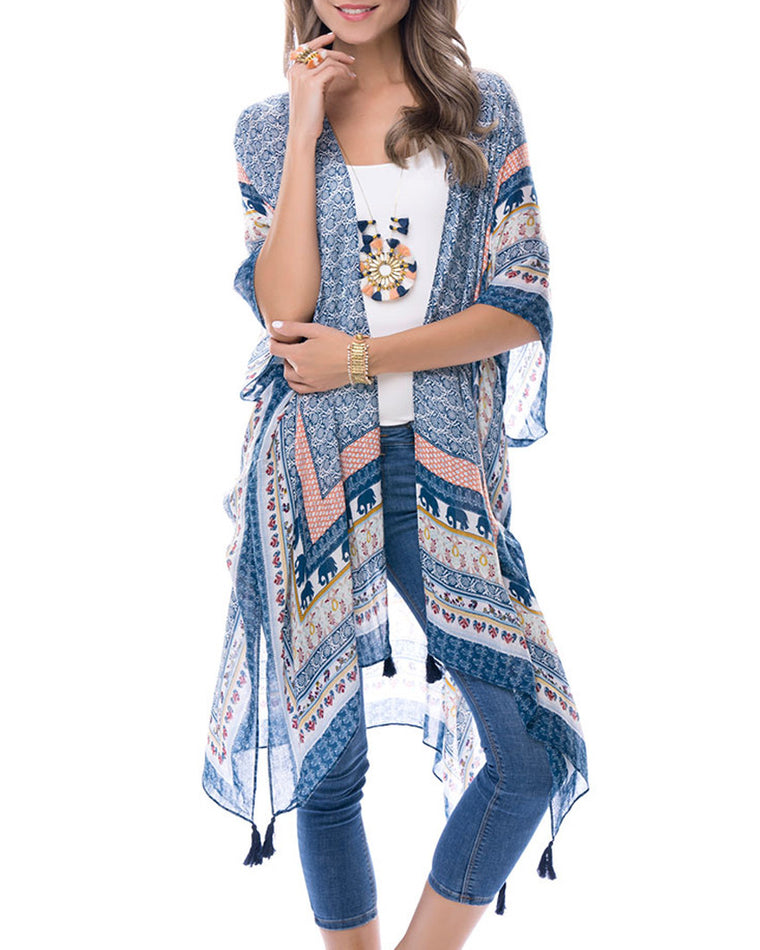 Royal Blue Tropical Patterned Kimono