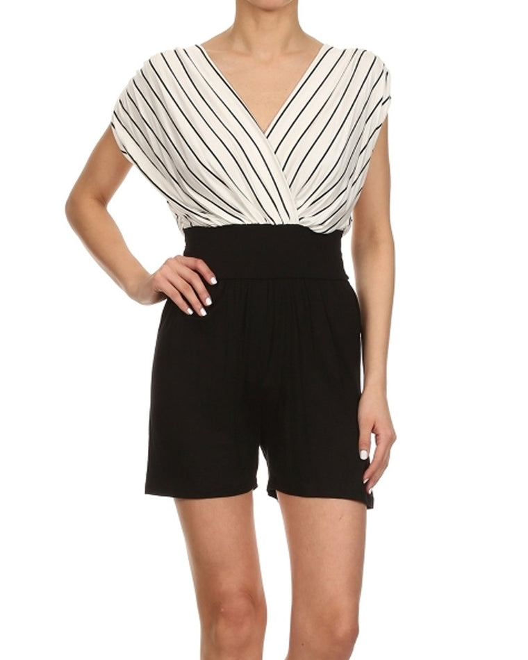 Pinstripe High-Waisted Romper