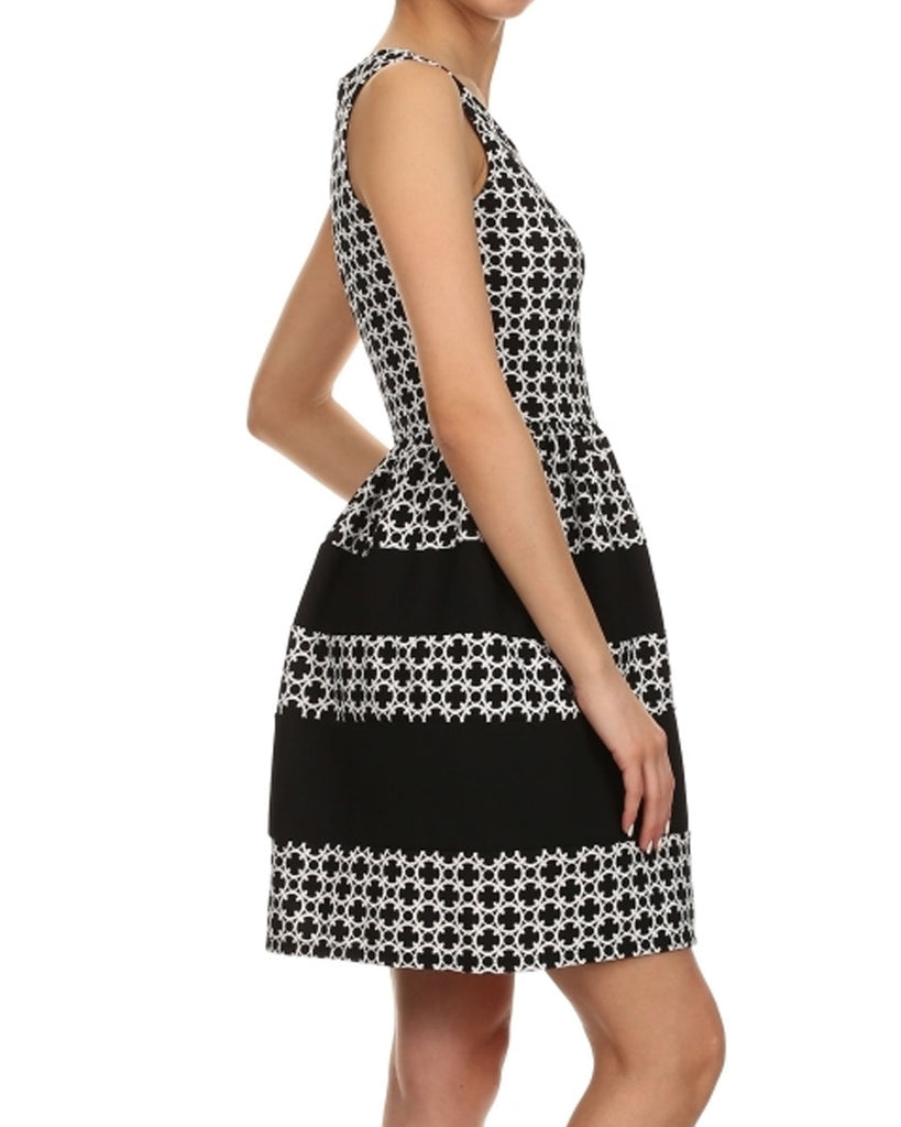 Circle Print Fit and Flare Dress