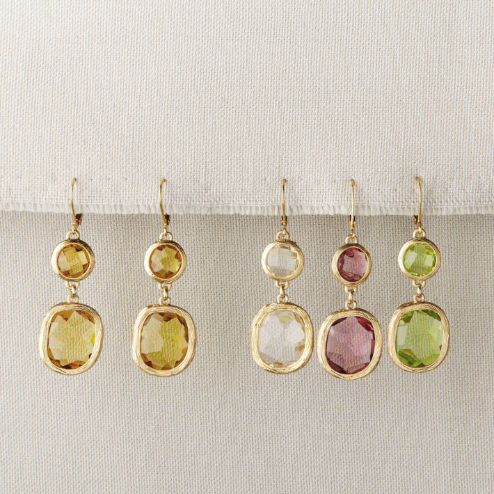 In The Clear Gemstone Drop Earrings