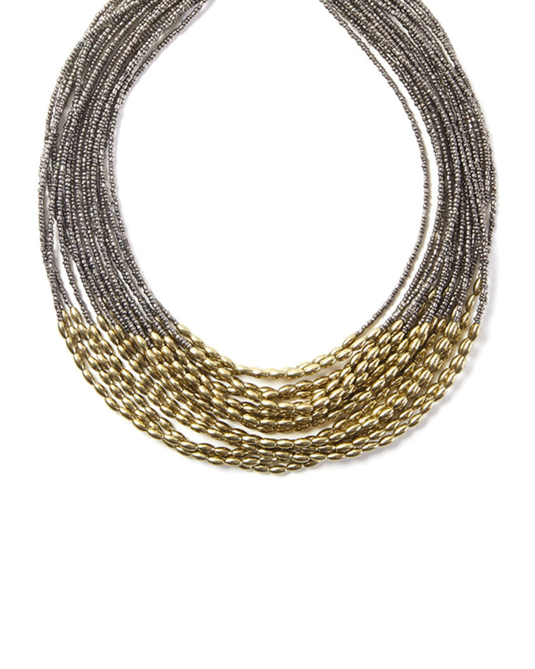 Rhonda Metallic Nugget Strand Necklace