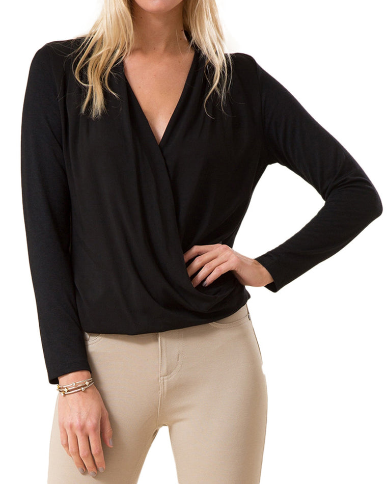 Draped Surplice V-Neck Knit Top