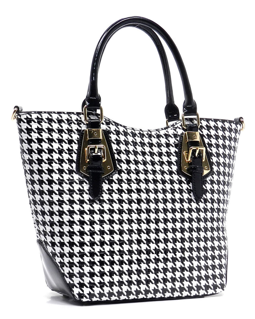 Glossy Houndstooth Buckle Tote Bag