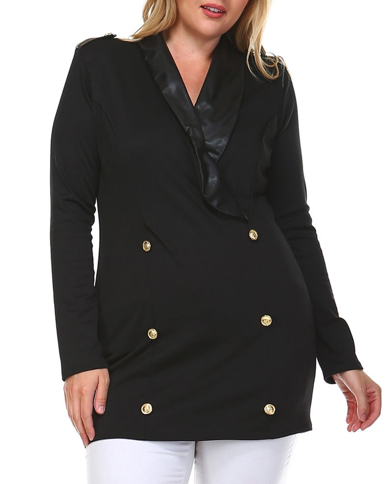 Black Double Breasted Longline Blazer (Plus Size)