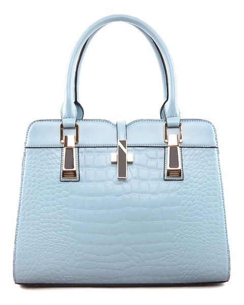 Pastel Crocodile Embossed Satchel