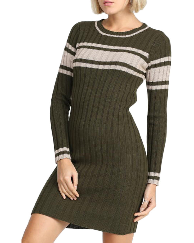 Olive Green Ribbed Sweater Dress
