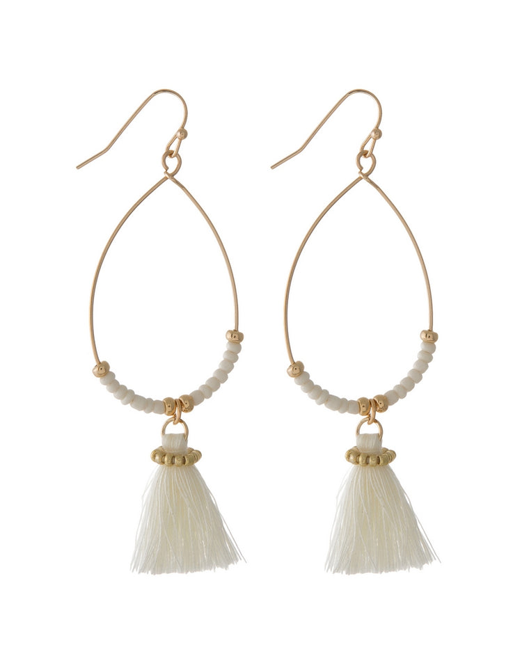 Aliza Hoop Tassel Drop Earrings