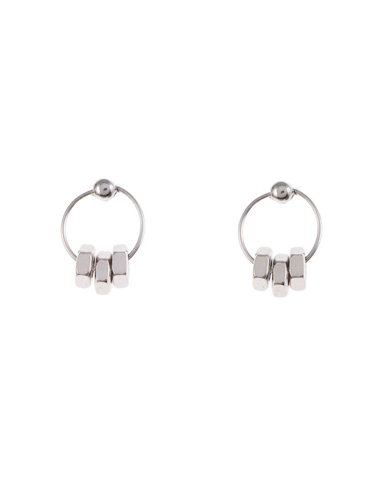 Industrial Lock Nut Petite Hoop Earrings