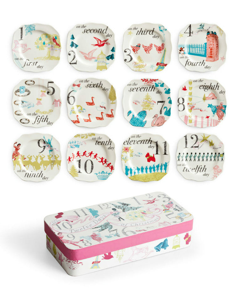 12 Days of Christmas Appetizer Plates Set