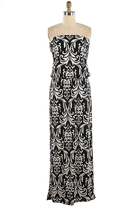 Baroque Pattern Blouson Strapless Maxi Dress