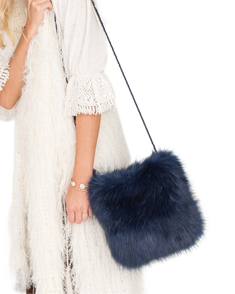 Navy Faux Fur Messenger Bag