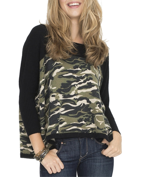 Camouflage High-Low Knit Sweater