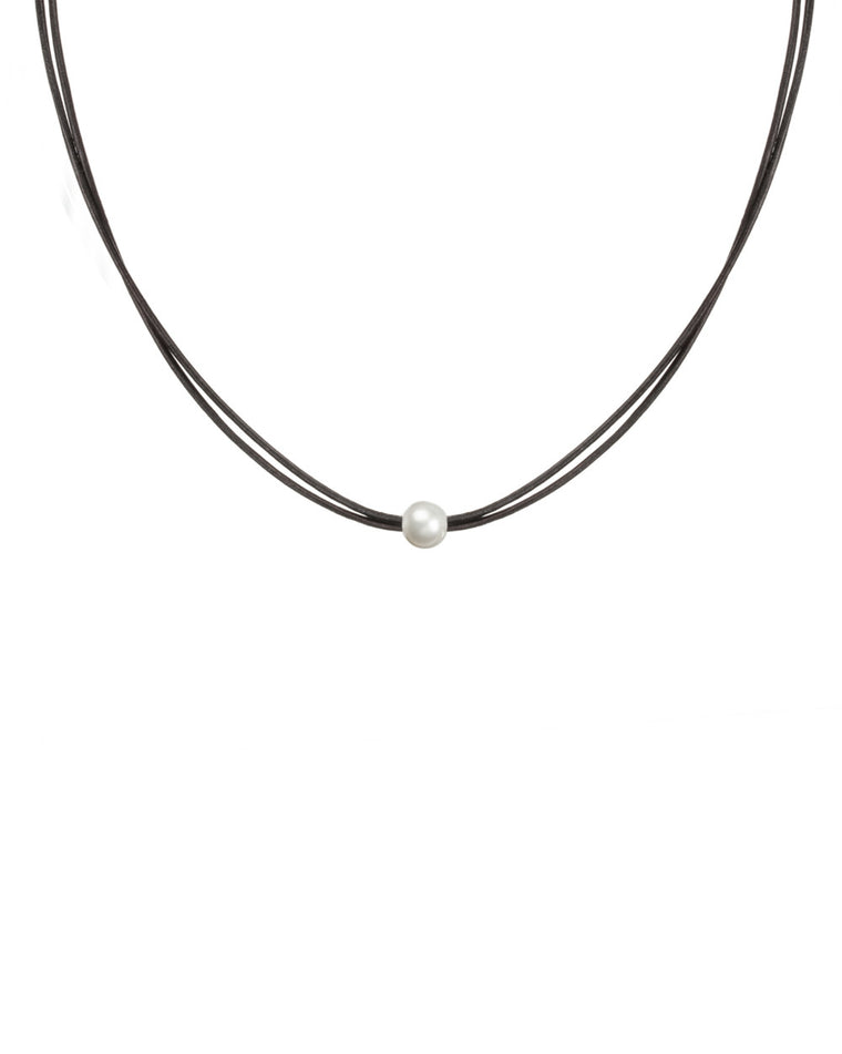 Black Leather Cord Choker with White Pearl