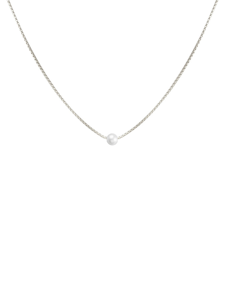 Silky Box Chain Choker with White Pearl