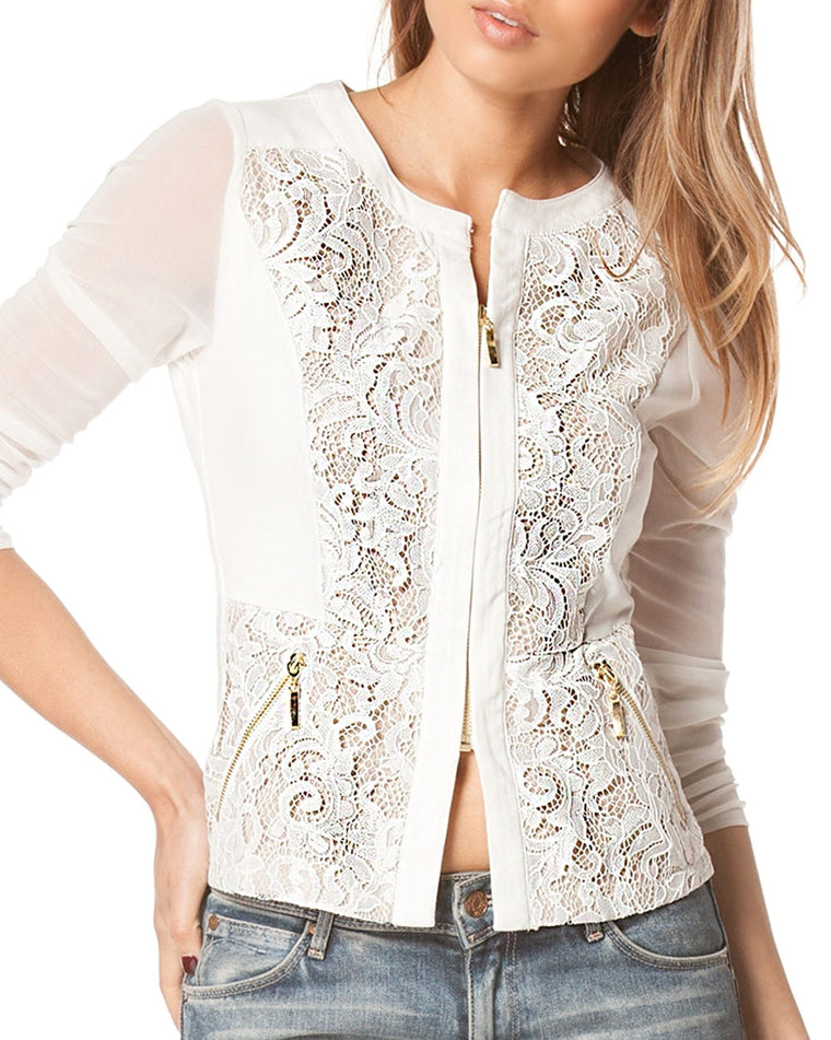 Sheer Lace Zip Jacket